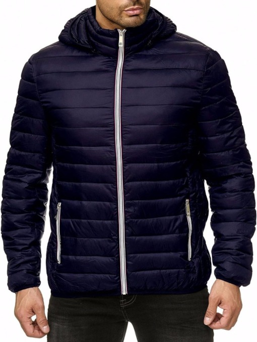 Plain Hooded Standard Zipper Men's Down Jacket