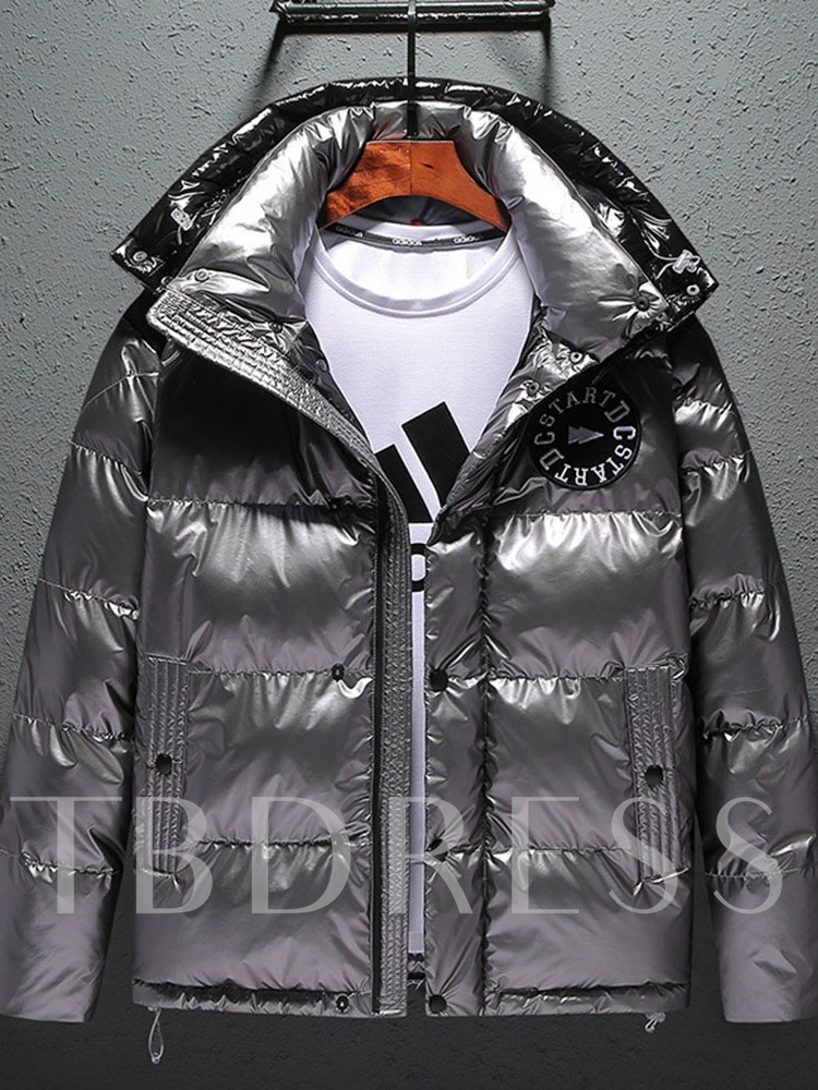 Patchwork Standard Hooded Color Block Single-Breasted Men's Down Jacket