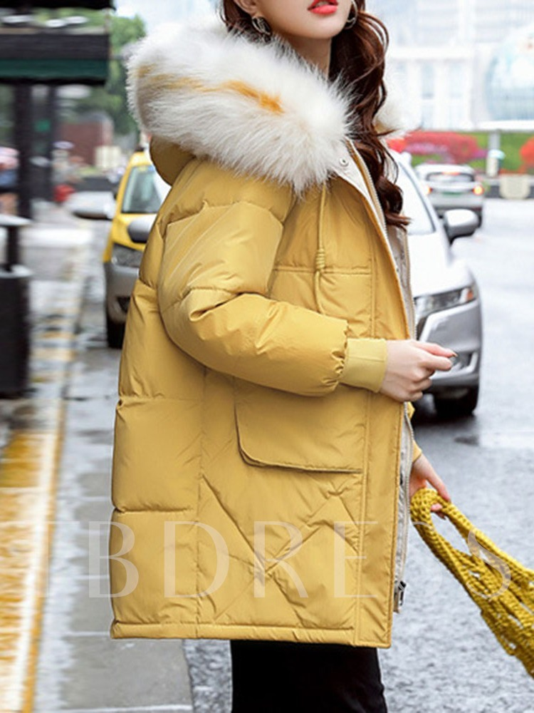 Patchwork Loose Mid-Length Plain Women's Cotton Padded Jacket