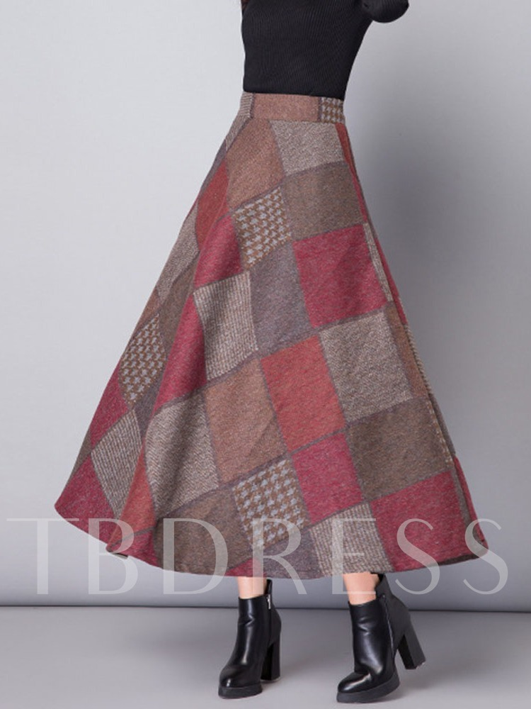 A-Line Plaid Mid-Calf Ethnic Women's Skirt