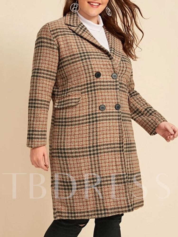 Plus Size Double-Breasted Loose Mid-Length Women's Overcoat