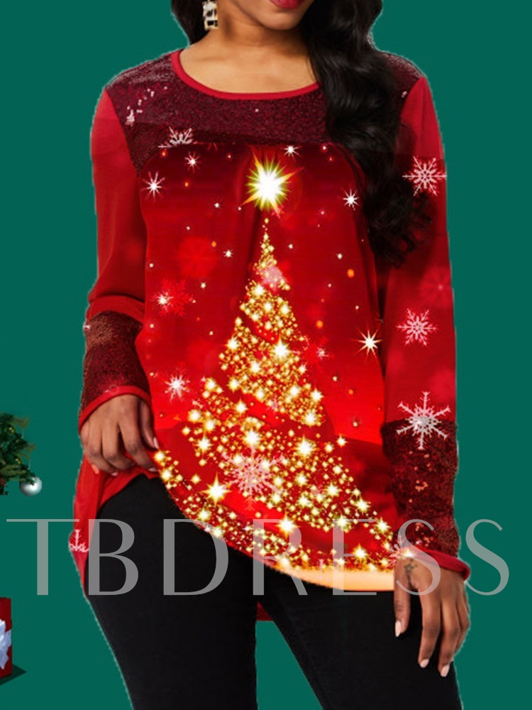 Mid-Length Long Sleeve Round Neck Casual Christmas Women's T-Shirt