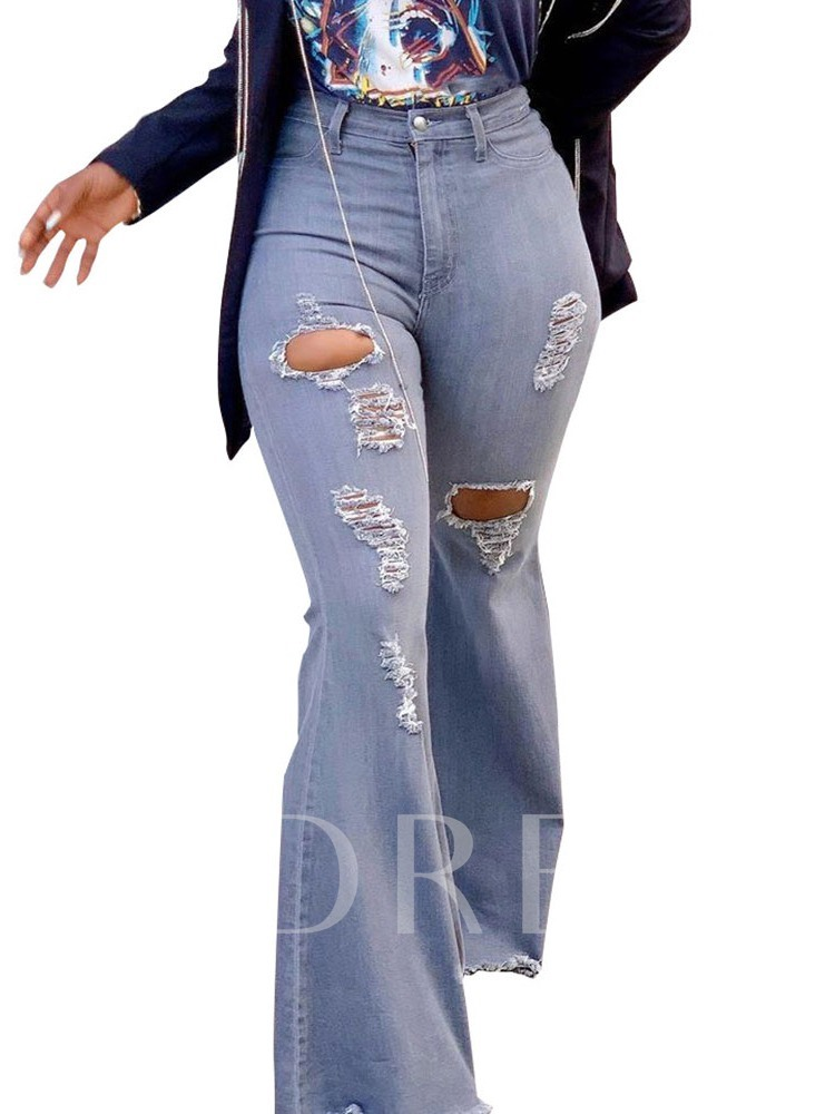 Plain Hole Bellbottoms High Waist Casual Women's Jeans