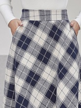 Color Block A-Line Mid-Calf High Waist Women's Skirt