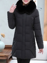 Plus Size Patchwork Slim Zipper Mid-Length Women's Cotton Padded Jacket