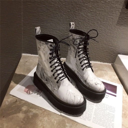 Lace-Up Front Color Block Round Toe Cross Strap Martin Boots