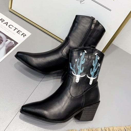 Chunky Heel Color Block Side Zipper Pointed Toe Ankle Boots