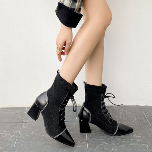 Pointed Toe Lace-Up Front Patchwork Chunky Heel Ankle Boots