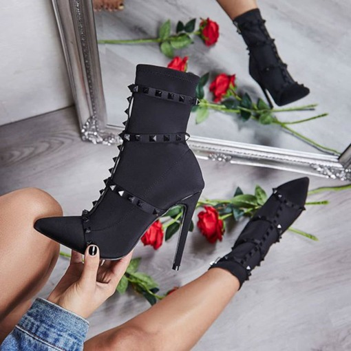 Stiletto Heel Pointed Toe Slip-On Rivet Booties
