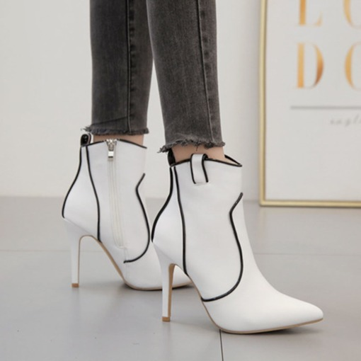 Color Block Pointed Toe Side Zipper Stiletto Heel Ankle Boots