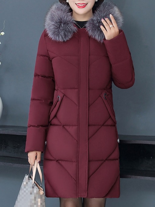 Plus Size Zipper Patchwork Loose Mid-Length Women's Cotton Padded Jacket
