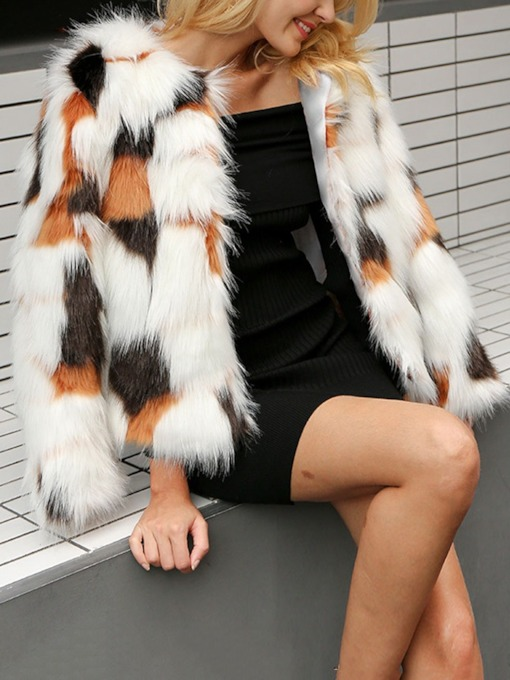 Round Neck Standard Color Block Thick Women's Faux Fur Overcoat