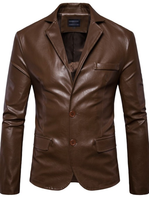Standard Plain Notched Lapel 3D Men's Leather Jacket