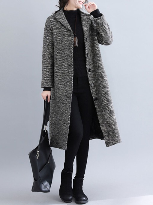 Straight Single-Breasted Long Women's Overcoat