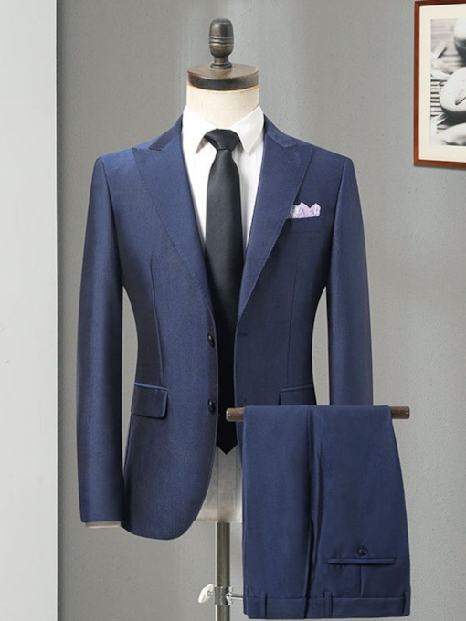 Formal Blazer Single-Breasted Pocket Men's Dress Suit