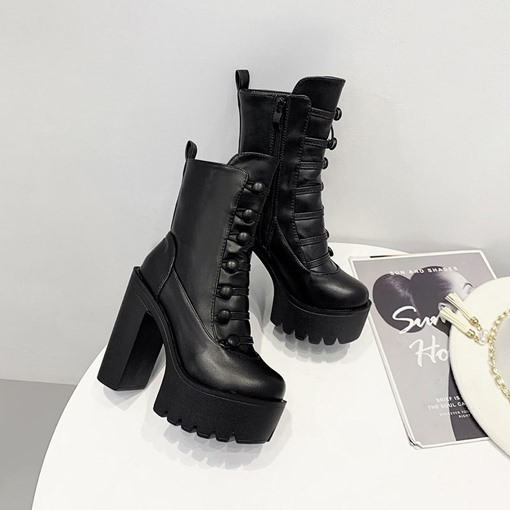Side Zipper Chunky Heel Plain Round Toe Casual Ankle Boots