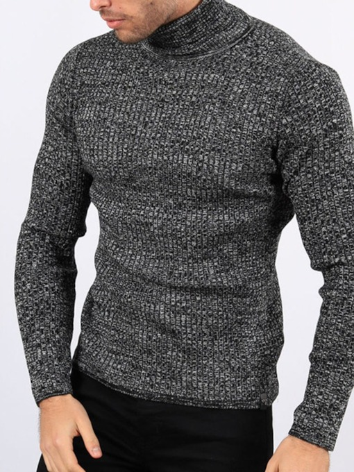 Standard Turtleneck Plain Slim Men's Sweater