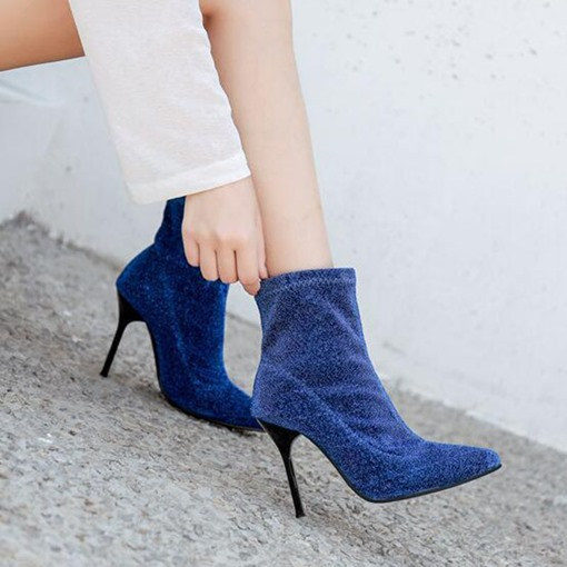 Plain Slip-On Stiletto Heel Pointed Toe Ankle Boots