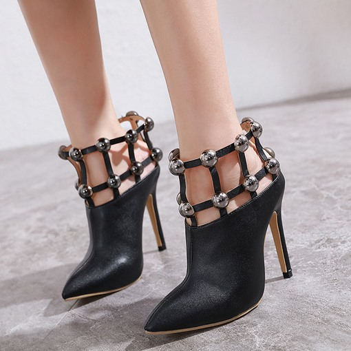 Hollow Pointed Toe Slip-On Stiletto Heel Ankle Boots