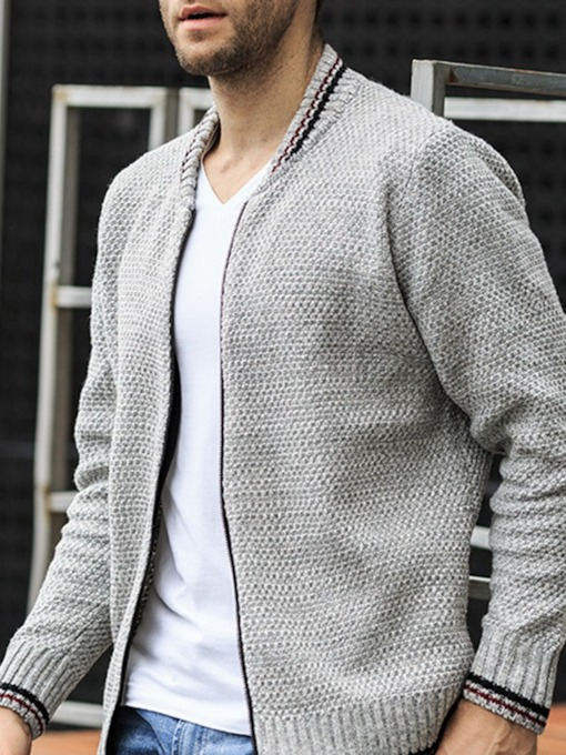 Zipper Color Block Standard Loose Men's Sweater