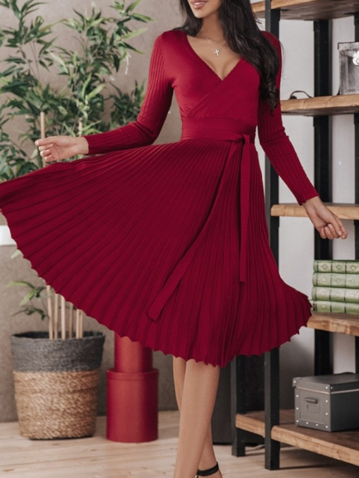 Long Sleeve V-Neck Pleated Mid-Calf Fall Women's Dress