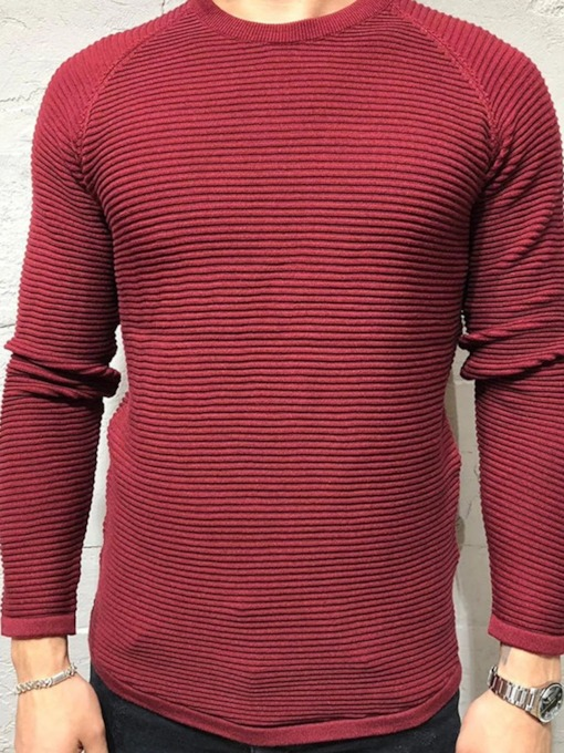 Plain Round Neck Standard Casual Men's Sweater