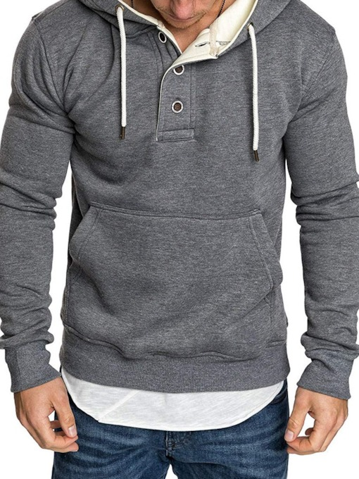 Plain Fleece Pocket Pullover Casual Men's Hoodies