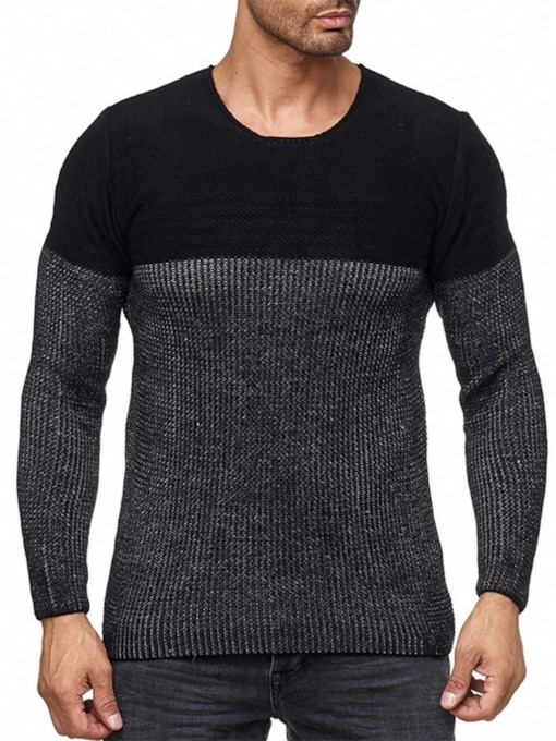 Color Block Standard Round Neck Slim Men's Sweater