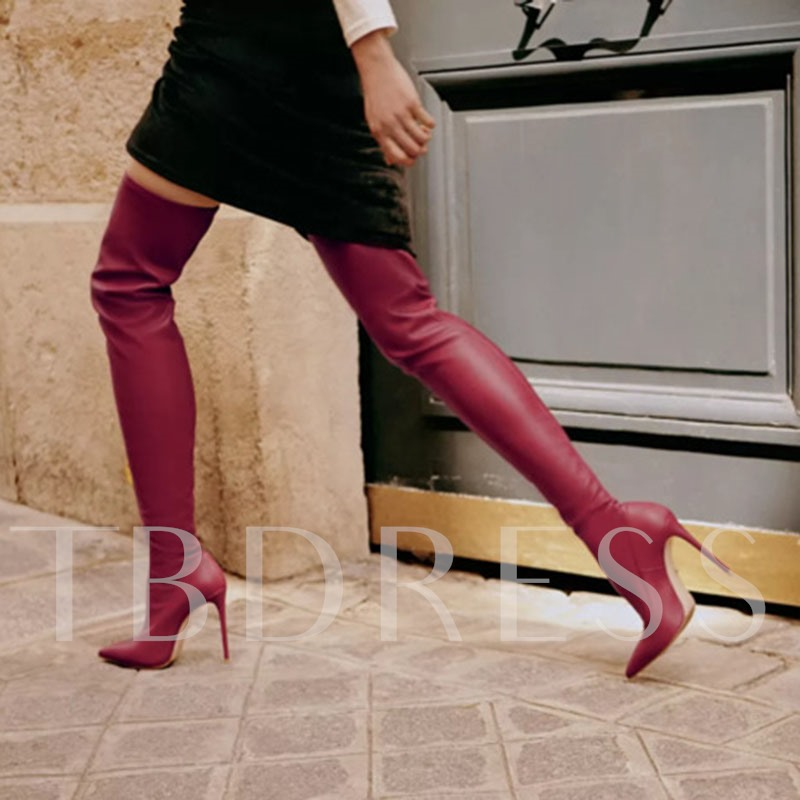 Pointed Toe Stiletto Heel Slip-On Plain PU Thigh High Boots