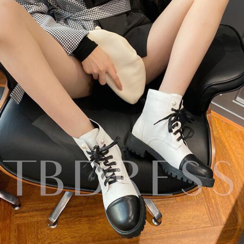 Lace-Up Front Color Block Round Toe Block Heel Ankle Boots