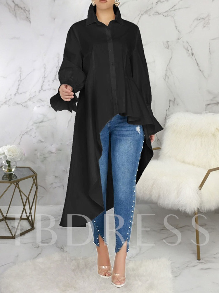 Plain Lapel Long Sleeve Fashion Women's Blouse