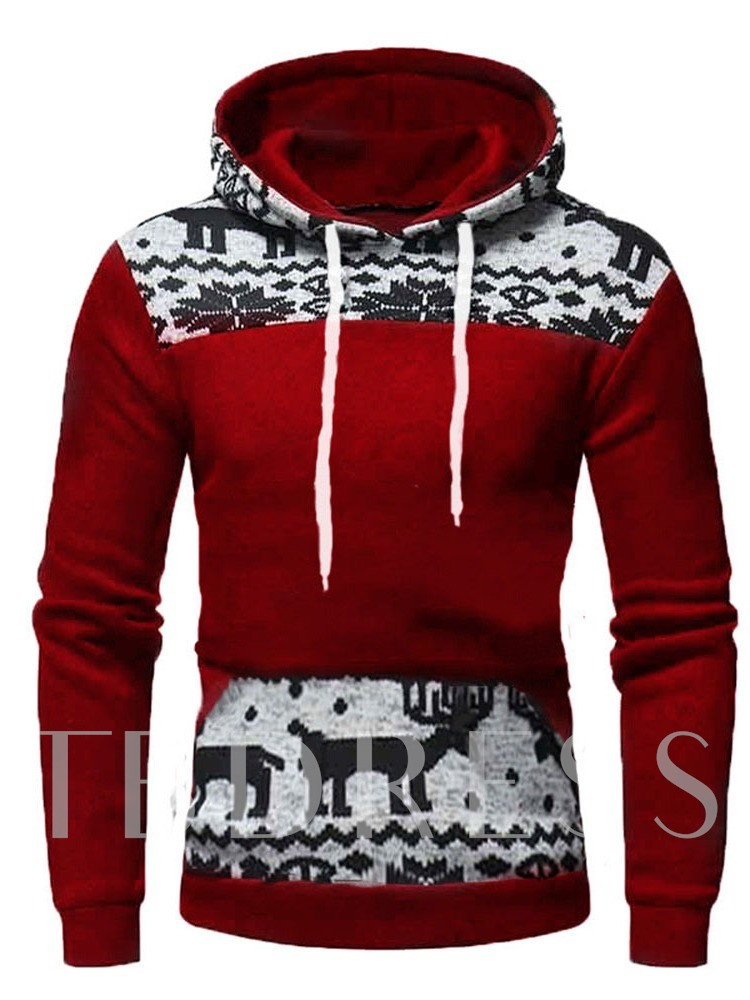 Pullover Thick Patchwork Color Block Men's Hoodies