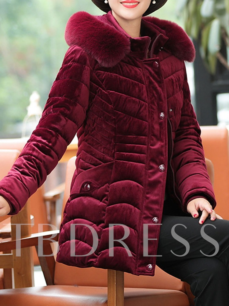 Pocket Thick Single-Breasted Slim Mid-Length Women's Cotton Padded Jacket