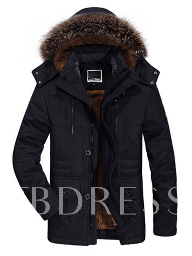 Patchwork Mid-Length Color Block Hooded Men's Down Jacket