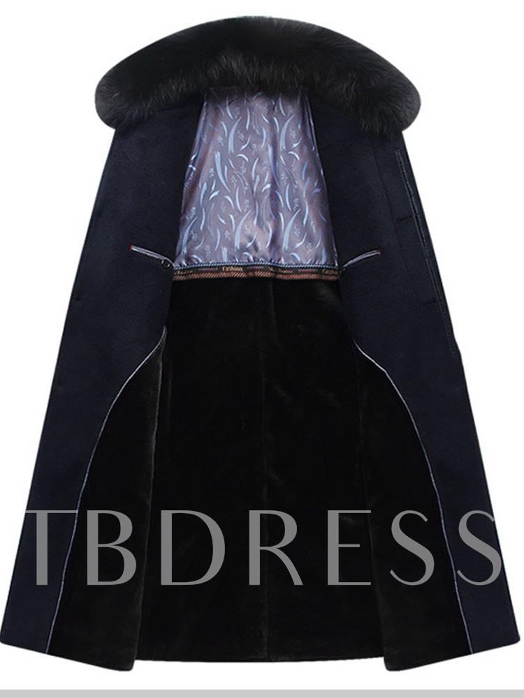 Long Button Lapel Single-Breasted Men's Coat