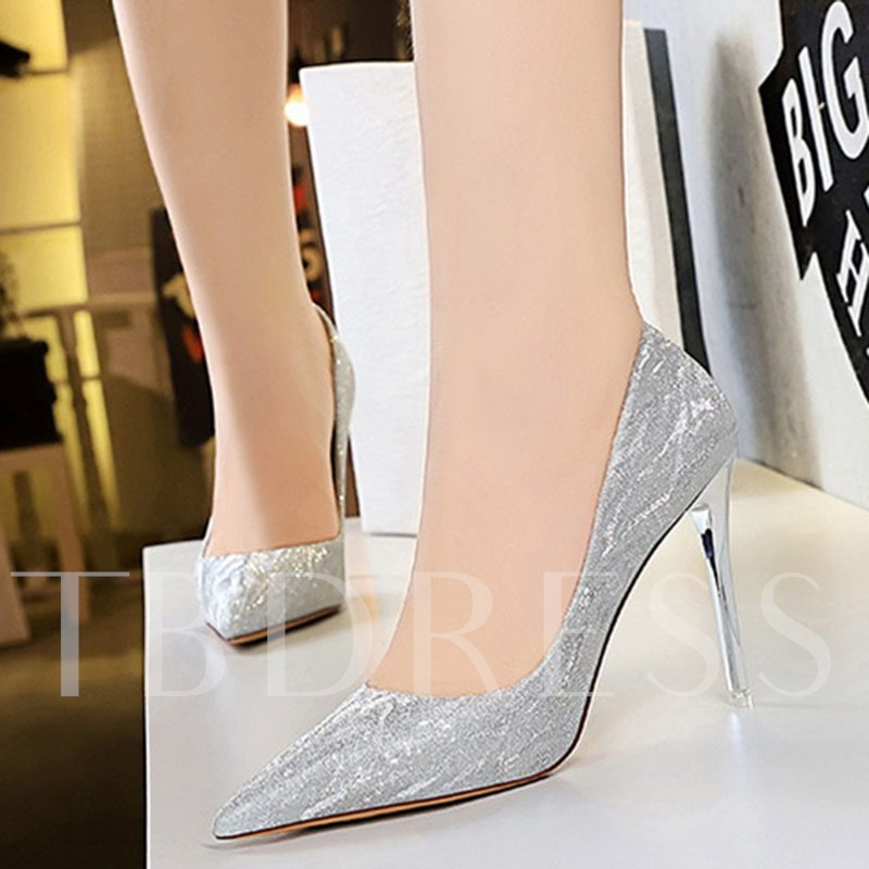 Slip-On Thread Stiletto Heel Pointed Toe Pumps