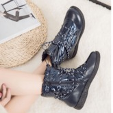 Lace-Up Front Plain Waterproof Round Toe Snow Boots