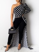 Polka Dots Print Long Sleeve Women's Blouse