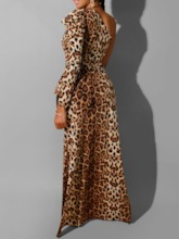 Print Leopard Long Women's Blouse