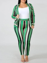Print Color Block Casual Round Neck Women's Two Piece Sets
