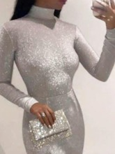 Floor-Length Long Sleeve Turtleneck Sequins Dress Women's Dress