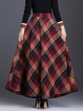 A-Line Plaid Ankle-Length Women's Skirt