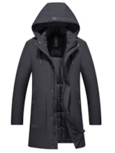 Print Mid-Length Hooded Casual Men's Down Jacket