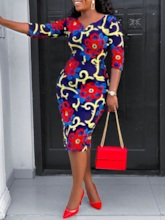 Color Block Print Casual Bodycon Women's Two Piece Sets
