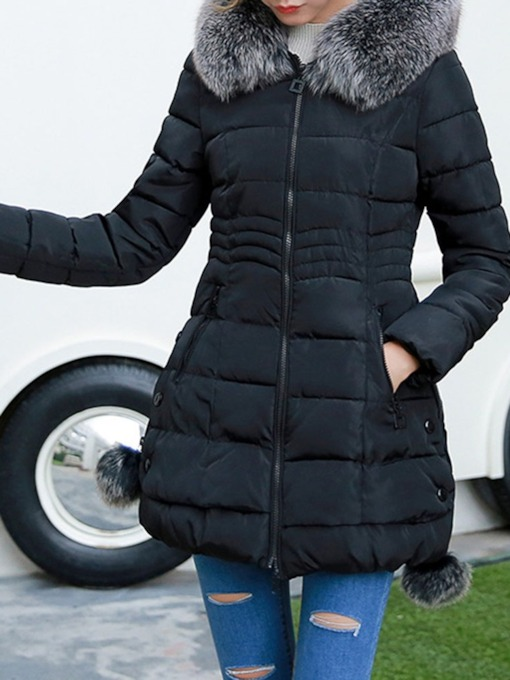 Zipper Pocket Slim Mid-Length Women's Cotton Padded Overcoat
