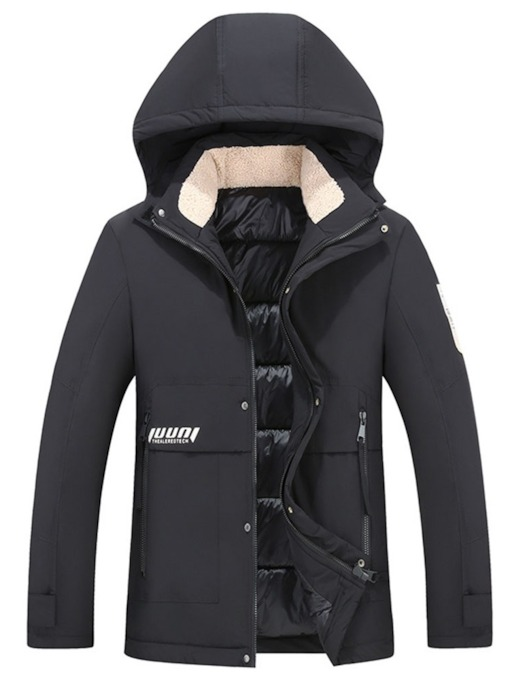 Hooded Color Block Standard Bead Zipper Men's Down Jacket