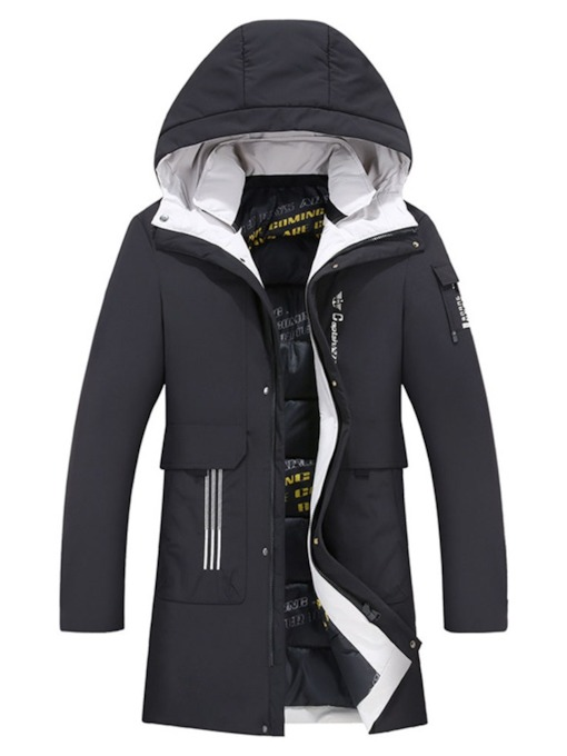 Color Block Zipper Hooded Mid-Length Casual Men's Down Jacket