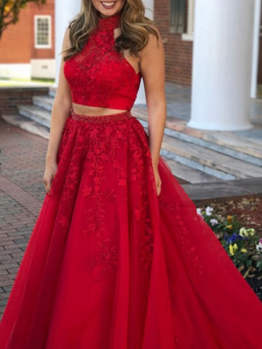 High Neck Beading Appliques Two Pieces Red Prom Dress 2020