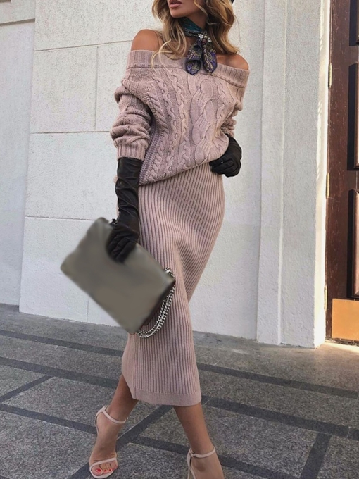 Plain Sweater Casual Off Shoulder Women's Two Piece Sets