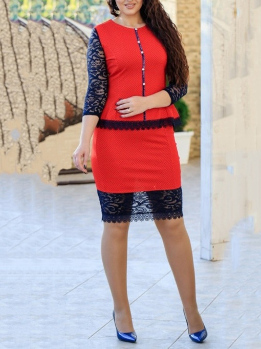 Lace Three-Quarter Sleeve Knee-Length Round Neck Pullover Women's Dress